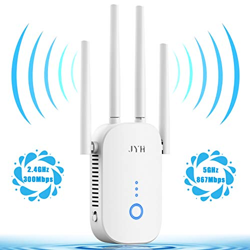 JYH 1200Mbps WiFi Extender, 2.4 & 5GHz Dual Band WiFi Repeater with Ethernet Port 4 Antennas WiFi Range Extender 360° Full Coverage WiFi Booster Internet Extender