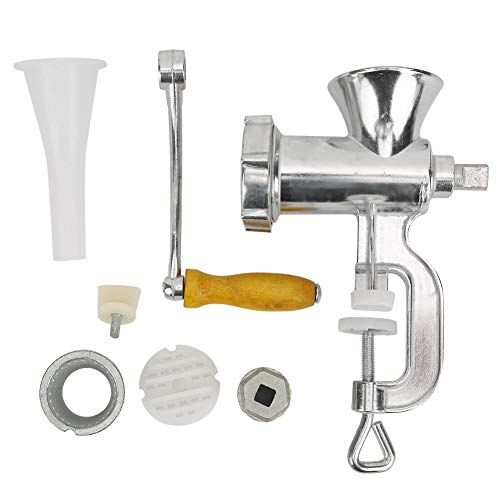 Manual Meat Mincers, Aluminum Alloy Meat Grinder with Stuffer Tubes Hand-Operated Grinding Machine for Mincing Grinding Meats Pork Beef Noodles Pepper #5