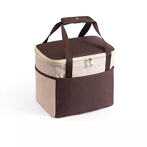 Picknickmanden 2-4 Personen 15 L Waterdichte Tas met Grote Capaciteit Geïsoleerde Koelerzak Brengt Uw Gezin Een Heerlijk Weekendje Weg,Brown-30 * 22cm