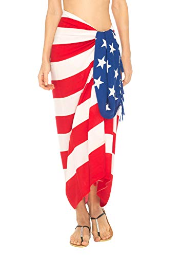 SHU-SHI Womens Beach Swimsuit Cover Up American Flag Sarong Wrap & Coconut Clip