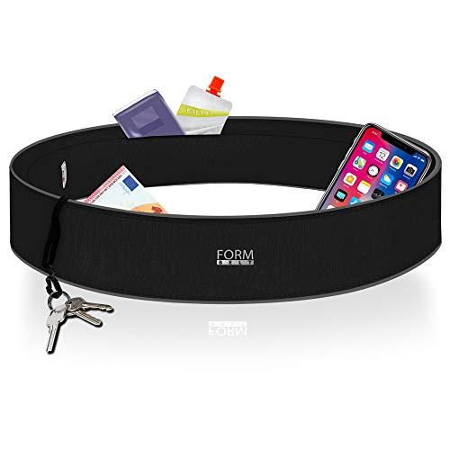 Formbelt Laufgürtel für Handy Smartphone iPhone 8 X XS XR 11 max 7+ Plus Samsung Galaxy S7 S8 S9 S10 Hüfttasche für Sport Fitness Laufen Bauchtasche zum Laufen (schwarz, M)