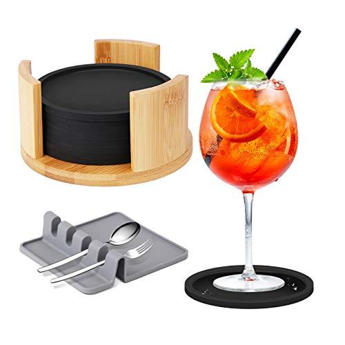 Ausbond Untersetzer Gläser Silikon mit Bambus Halter, 8er Rund Schwarz BPA-frei Glasuntersetzer Set, Glas Getränkeuntersetzer für Alle Trinkgläser Geschenk