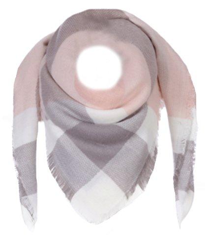 Fashion XXL Schal Karo (Rosa/Grau/Weiß)