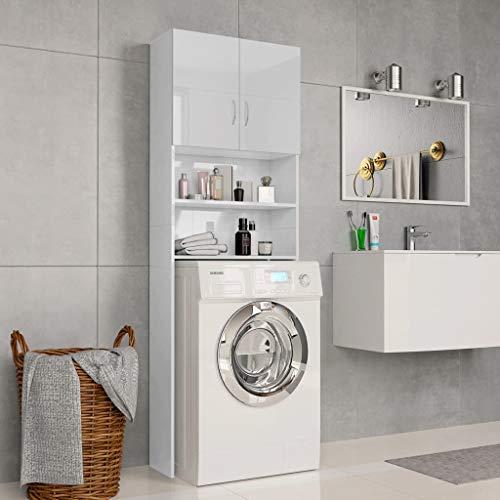 UnfadeMemory Mobile per Lavatrice Mobile da Bagno Bianco Lucido 64x25,5x190 cm in Truciolato