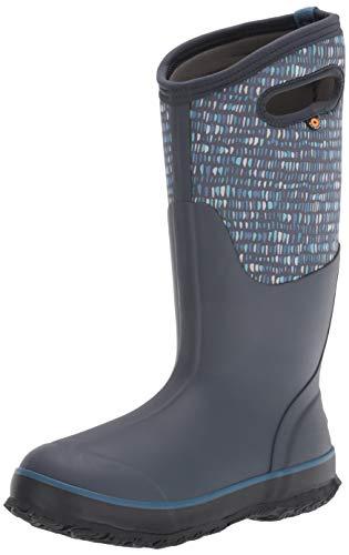 BOGS Women's Classic Tall Rainboot Rain Boot, Twinkle Print-Dark Blue, 7