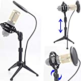 Desktop Microphone Tripod Suspension Stand with Shock Mount Anti-Vibration Mic Holder and 4' Round Mask Shield Double-Net Wind Screen Pop Filter (Large, Black)