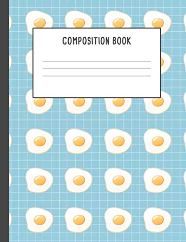 Composition Book: Cute Aesthetic Funny Japanese Omelette Egg Yolk Blue Pattern Illustration Cover Notebook, 200 pages College ruled (7.44 x 9.69)