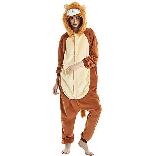 Mallalah Mujer Combinación Set Pijamas Ropa de Dormir de Navidad Elk Tigre Lindo Durmiente Algodón Grueso Otoño Invierno Señora Hombre Pijamas de Franela Size M (León)