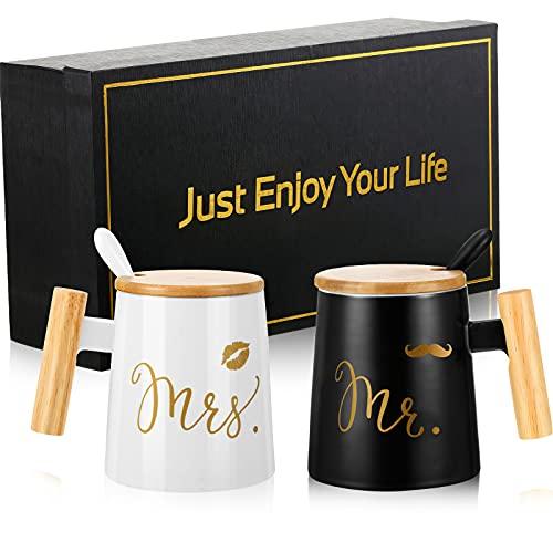 Set di Tazze da Caffè Mr e Mrs Regalo Nuziale, Regalo di Matrimonio di Coppia, Regalo di Fidanzamento per Lei, Regalo di Anniversario, Regalo di Nozze