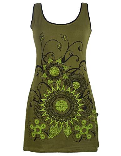 Vishes - Alternative Bekleidung - Ärmelloses Blumenkleid aus Baumwolle mit weitem Ausschnitt Olive 46