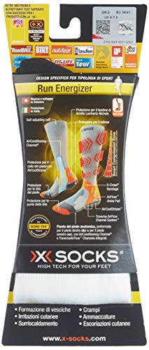 X-SOCKS Run Energizer - Chaussettes - Homme - Blanc - Taille:39-41