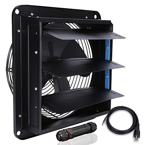 HUGOOME Ventilador de 10 pulgadas con conector para ático, tienda y garaje, ventilación comercial e industrial, montado en la pared
