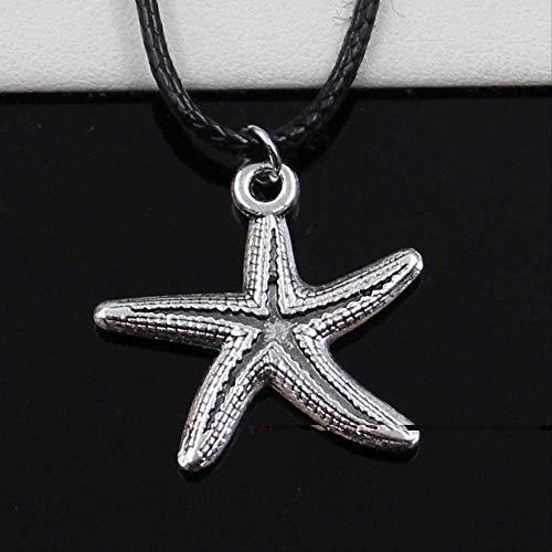 LDKAIMLLN Co.,ltd Collar Colgante de Plata de Moda tibetana Collar de Estrella de mar Collar de cordón de Cuero Negro Cuello joyería Hecha a Mano
