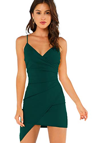 Verdusa Women's Sexy Ruched Side Asymmetrical V Neck Bodycon Cami Dress Green S