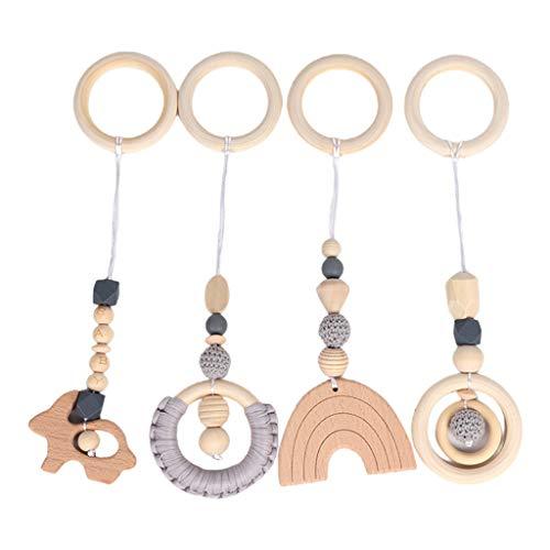 XIANGBEI - Juego de 4 piezas para bebé, para colgar en el gimnasio, para el cochecito, colgante de madera, anillo mordedor para bebés y niños pequeños, mordedor para dentición