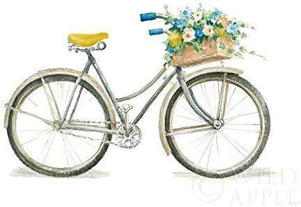 Rahmen-Kunst Keilrahmen-Bild – Danhui Nai: Floursack Home I Leinwandbild Blumen-Fahrrad Idylle bunt