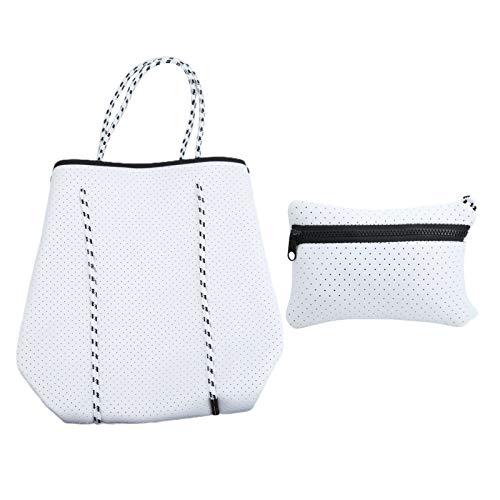 Bolso de mano para mujer, bolso grande de playa para piscina, bolso pequeño para colgar incorporado, portátil y resistente, duradero y cómodo, novedoso y moderno para viajes de(white)