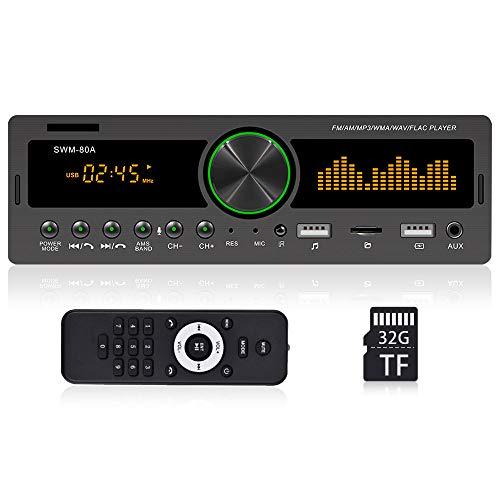 OiLiehu Single Din Bluetooth Autoradio MP3-Player Unterstützung Sprachassistent / Mobile APP Finde das Auto / FM / AM / AUX-IN + Ausschalt Speicher + 32G TF-Karte & Fernbedienung (ohne Akku)