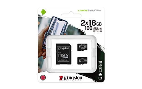 Kingston Canvas Select Plus Carte MIcro SD SDCS2/16GB-2P1A Class 10 (2x cards,SD Adaptateur inclus)