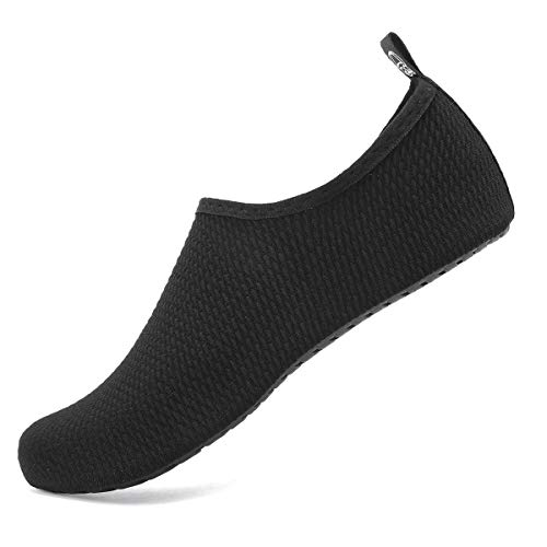 Water Shoes for Womens and Mens Summer Barefoot Shoes Quick Dry Aqua Socks for Beach Swim Yoga Exercise (Blisters-Black, 42/43)
