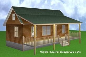 16x36 Cabin w/ 2 Loft Plans Package, Blueprints, Material List