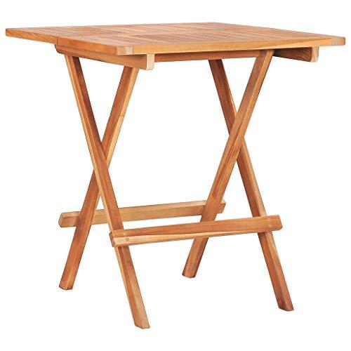vidaXL Teak Massiv Bistrotisch Klappbar Gartenmöbel Tisch Gartentisch Klapptisch Balkontisch Holztisch Teaktisch Terrassentisch 60x60x65cm
