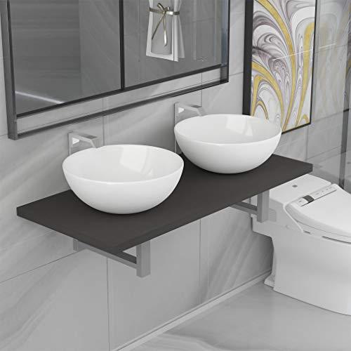 N/O Viel Spaß beim Einkaufen mit 3-TLG. Badmöbel-Set Keramik Grau