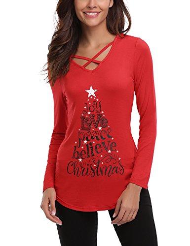 iClosam dam vardaglig jul t-shirt Criss Cross Front-V-ringad långärmad tröja