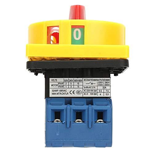 Interruptor de cambio de levas giratorio, tamaño pequeño, plateado 32A, interruptor de disyuntor de carga, voltaje nominal de 440 V, alta resistencia para máquinas herramienta para(32A)