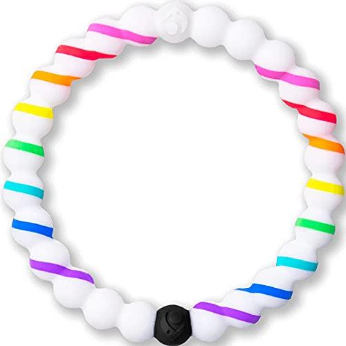Lokai Pride Stripe Cause Collection Rainbow Pride Silicone Beaded Bracelet, Medium, 6.5'