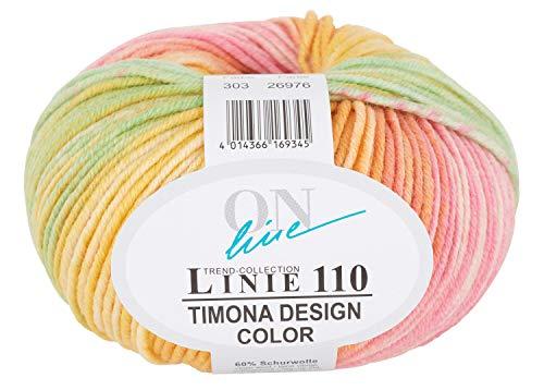 Online Wolle Trend-Collection Linie 110 Timona Design Color 50g Garn 60% Schurwolle Strickgarn Häckelgarn Farbe 303