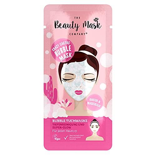 The Beauty Mask Company Crazy Cactus Bubble Mask, 1 Sachet , Reinigungs-Tuchmaske mit Kaktus-, Wasserlilienextrakt & Hyaluron, Hautpflege für jeden Hauttyp, vegan, 25 g