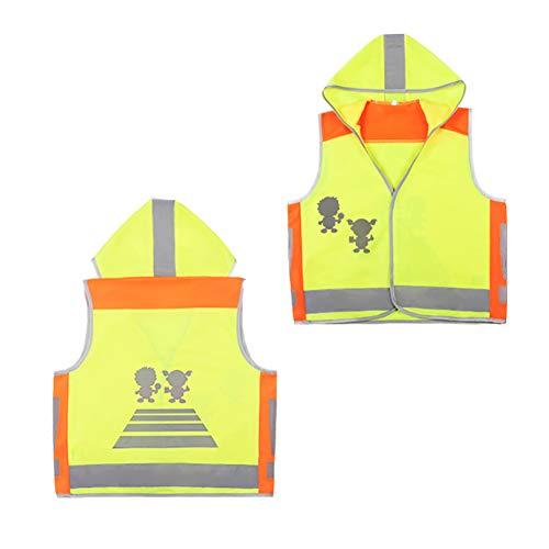 HYCOPROT Kinder Warnwesten Reflektierende Weste Baby Sichtbarkeit Sicherheit Straßenverkehr Nacht Studenten Mantel Kleidung Mit Kapuze Kleinkind Jacke Jungen Mädchen Öffentliches Reiten Schutz(L)