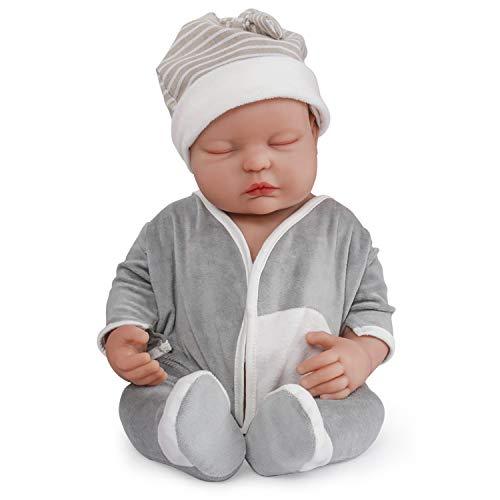 Vollence Poupée Reborn bébé endormi réaliste 46 cm, Yeux fermés, sans PVC, Silicone Platine, Corps Complet Aspect réel d'un véritable Enfant, Réaliste, Doux fabriqué à la Main avec vêtements - Garçon