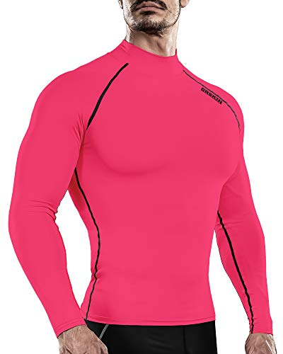 DRSKIN Men's Long Sleeve Compression Shirts Top Sports Workout Running Athletic Base Layer Dry Thermal Winter (SLPK36, XL)