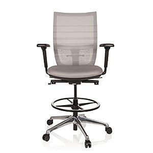 hjh OFFICE 721940 Silla de Trabajo Top Work 98 Tejido de Malla Gris Taburete Ajustable Silla Alta