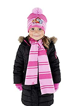 Nickelodeon Girls  Paw Patrol Hat Scarf Cold Weather Pink Glove Set Age 4-7 Mittens or Gloves Set-Age 2-7
