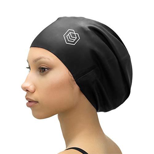 SOUL CAP XL – Extra Large Swimming Cap - Designed for Long Hair, Dreadlocks, Weaves, Hair Extensions, Braids, Curls & Afros - Women & Men - Premium Silicone (Black)