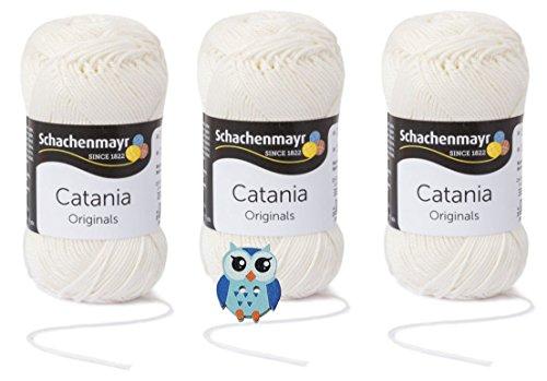 Schachenmayr Catania Wolle 3x50 Gr, 100% Baumwolle + 1 Eulen Knopf (Farbreihe 100-199) (105 Natur)