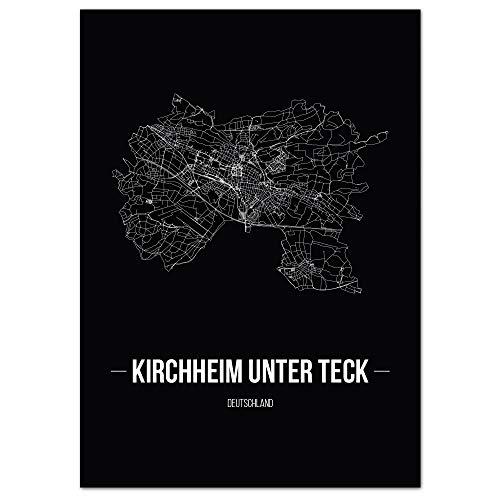 JUNIWORDS Stadtposter - Wähle Deine Stadt - Kirchheim unter Teck - 21 x 30 cm Poster - Schrift B - Schwarz