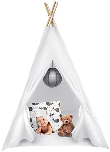 Sorbus Kids Foldable Teepee Play Tent Playhouse Classic Indian Style Play Tent and Carry Bag, Walls with Door, Window and Floor (White)