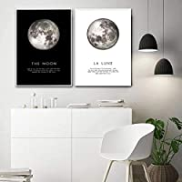 Canvas Art Painting Wall Art The Moon Quotes Poster Black White Wall Art Print Planet Picture Modern Home Living Room Decor-(50x70cm)X2 No Frame