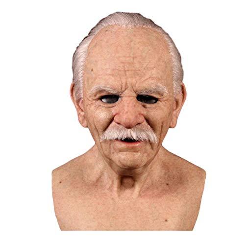 MrsJasmine Máscara de Cabeza Humana de Fiesta de Traje Halloween de Anciano Máscara de látex de Adultos Mere Aterrador, Tamaño Único