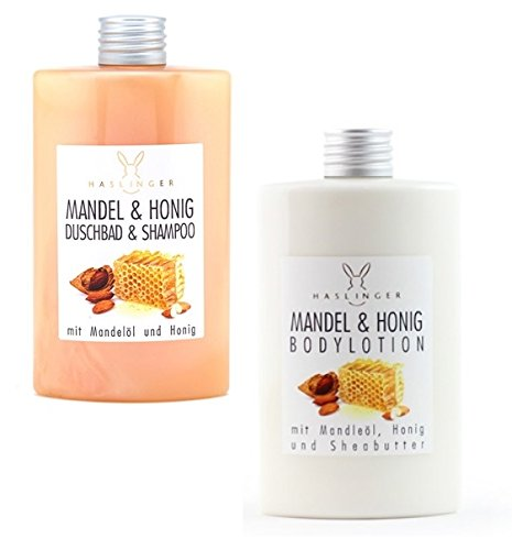 Lashuma Mandel Honig Duschbad & Shampoo und Bodylotion mit Mandelöl und Sheabutter, Körperpflege 2er Set 2x 200 ml