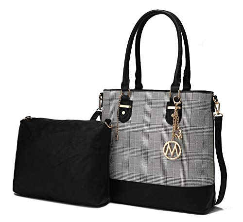 Mia K Collection 2-PC Set, Tote Bag for Women, Pouch Handbag Purse PU Leather Pocketbook Crossbody Shoulder Strap Black
