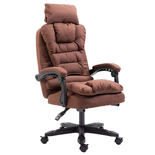 LJFYXZ Executive Swivel Computer Chair Extra Padded Office Chair Detachable cloth cover 155° recliner design Ergonomic Home Office (Color : Brown)