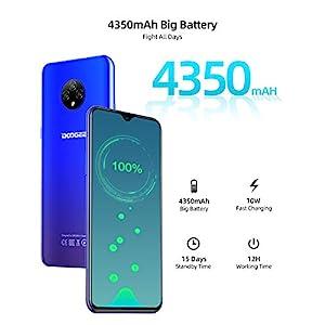 Moviles Libres Baratos 4G, DOOGEE X95 Android 10 Smartphone Libre, Pantalla 6,52 Pulgadas, 4350mAh Batería, Smartphone Barato Dual SIM, Triple Cámara 13MP+5MP, 16GB ROM, 128GB SD, Face ID - Azul