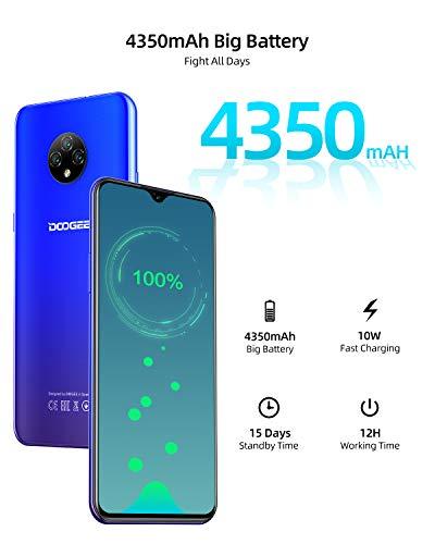 Smartphone Débloqué 4G, DOOGEE X95(2020) Téléphones Portables Android 10.0, Ecran 6.52 Pouces, 2Go RAM+16Go ROM Dual SIM Téléphone Mobile Triple caméra 13MP+5MP, Batterie 4350 mAh - Bleu