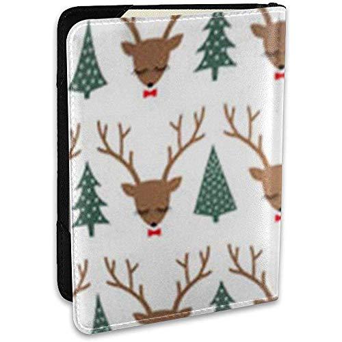 Funda para Pasaporte Cojines Almohadas Reno córneo Ciervos Lindos para Dormir Arcos Árboles de Navidad Patrón de Cabeza Vacaciones Alce Suéter Vida Salvaje