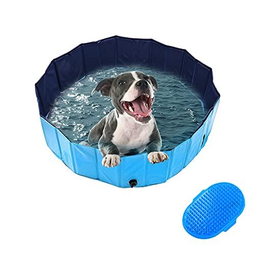 DBREAKS Baignoire pour Chien Pliable 120CM, Piscine Grand pour Chien, Piscine Animaux Bleu, Pet Bath Pool, Dog Swimming Pool PVC